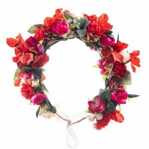 Coronita cu flori rosii mari