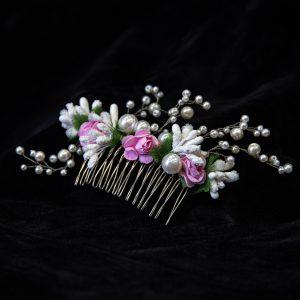 1.CALYPSO_Pieptene par mireasa_perle albe_muguri albi_flori roz