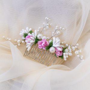 1.CALYPSO_Pieptene_mireasa cu perle si muguri albi_flori roz