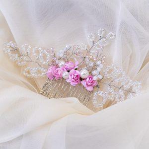 2.CALLIOPE_Pieptene mireasa_cristale si flori roz