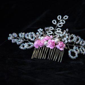 2.CALLIOPE_Pieptene_par_mireasa_flori roz