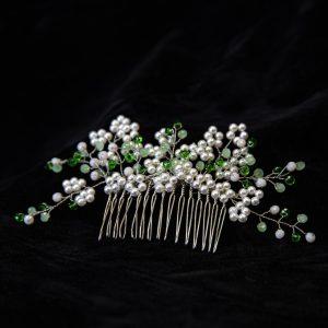 3.DAPHNE_Pieptene pentru prins parul cu perle albe si cristale verzi
