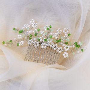 3.DAPHNE_Pieptene perle albe si cristale verzi