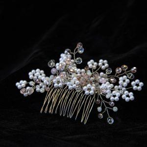 5.KALI_Pieptene par mireasa_flori din perle si pietre transparente