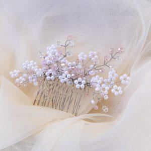 5.KALI_Pieptene_coc_perle albe si cristale roz deschis