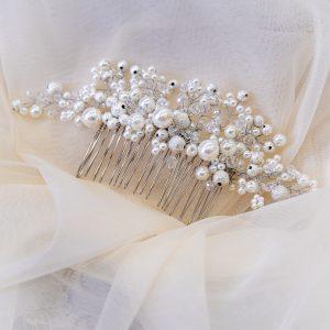 6.GALATEEA_Pieptene mireasa cu perle si pietre argintii