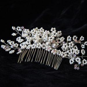 8.CERES_Pieptene par_mireasa_perle albe si pietre argintii