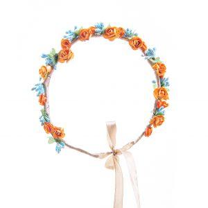 Coronita flori bleu si orange