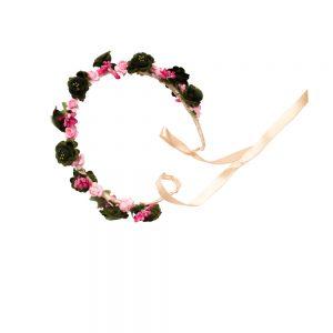 Coronita flori roz di verde inchis