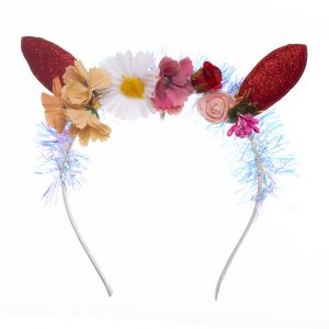 Coronita copii cu urechi rosii si flori