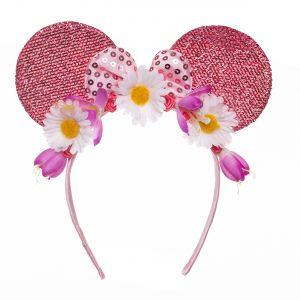 Coronita urechi roz cu flori fata